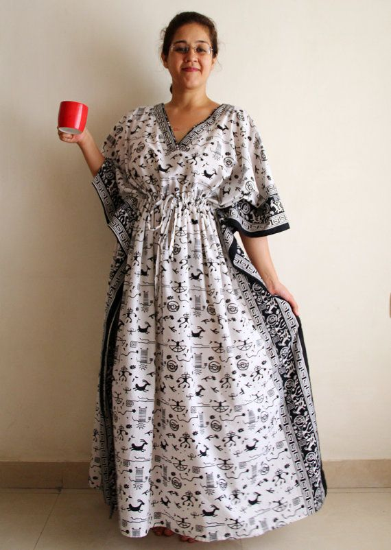 Shoulder button Nursing gown, Indian dress, Indian Caftan, plus size ...