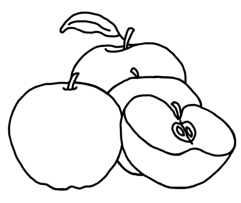 Easy apple coloring pages Kids Colouring Pages