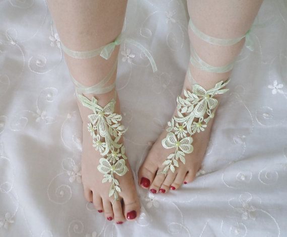 beach shoes beach fashion bridal sandals mint by BloomedFlower, $17.00