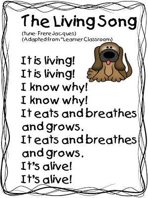 First Grade Wow: free The Living Song for unit on living