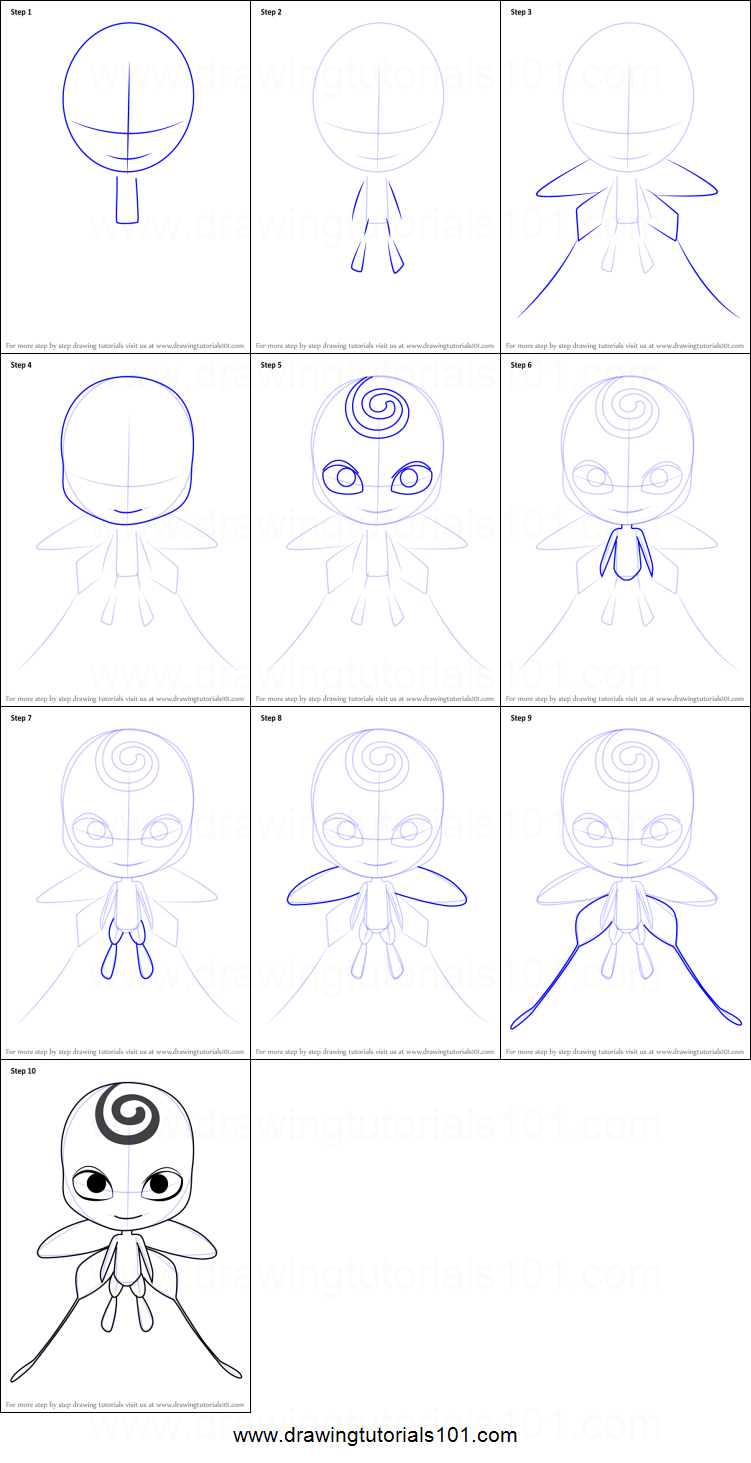 How to Draw Nooroo Kwami from Miraculous Ladybug printable ...