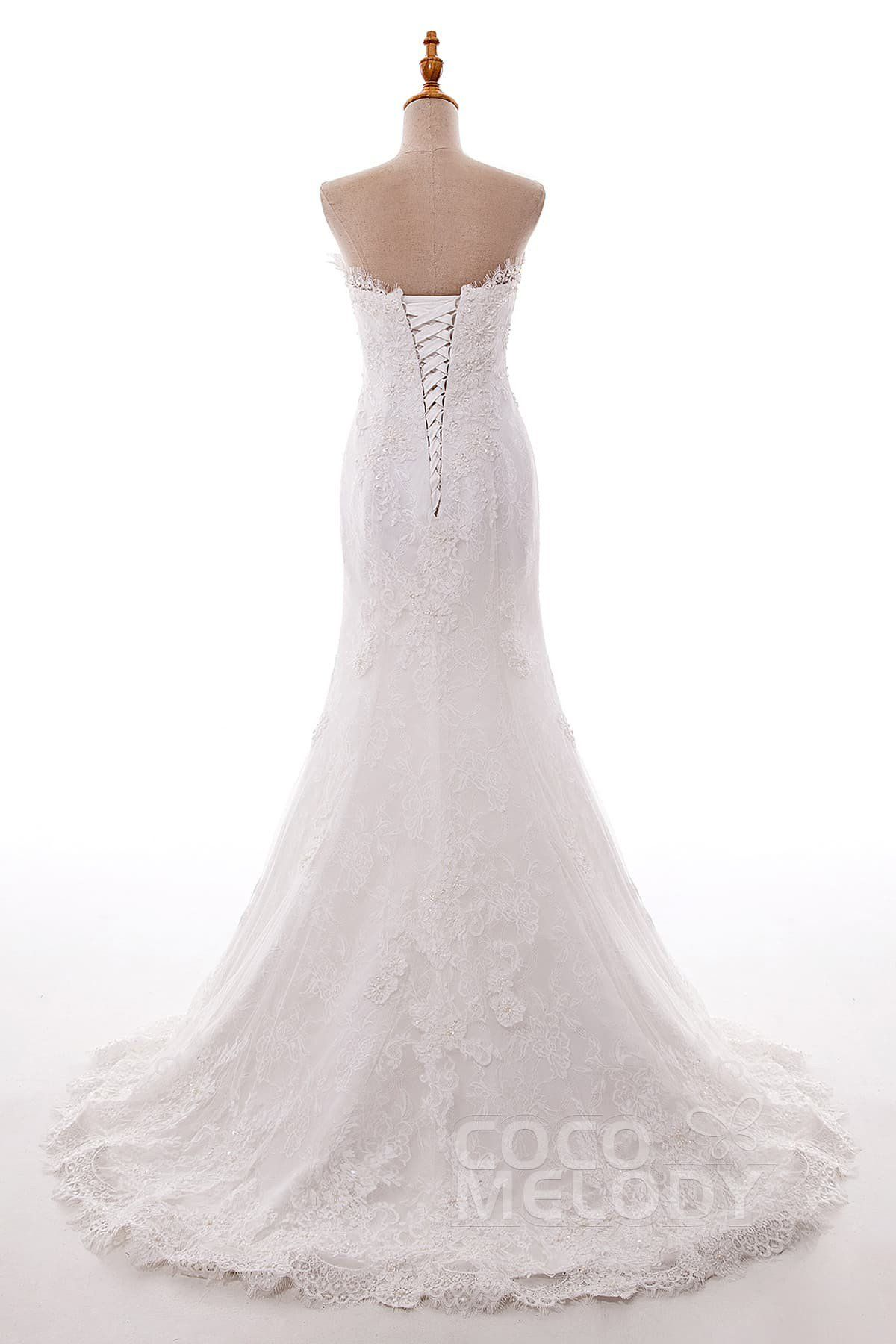6a074e858f0 Perfect Trumpet-Mermaid Strapless Natural Sweep-Brush Train Tulle and Lace  Ivory Sleeveless Lace Up-Corset Wedding Dress with Beading LD5086   weddingdresses ...