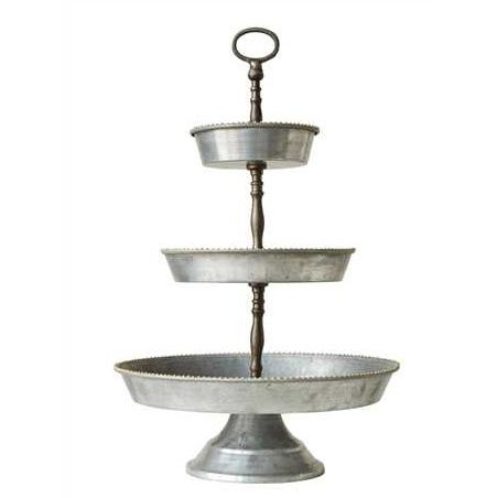 Chloe Tray Galvanized Tray Tiered Stand Galvanized Metal