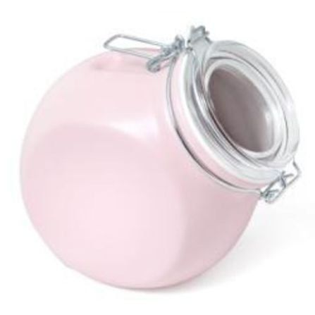 This Beautiful Pink Stoneware Storage Jar Has A Liter Capacity And Is Great Et In Any Kitchen It Gl Lid Can Be Used Either Tilted Or Upri