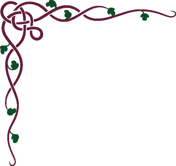 Celtic Ivy Maroon Clip Art Illuminated Scrolls Vine Border