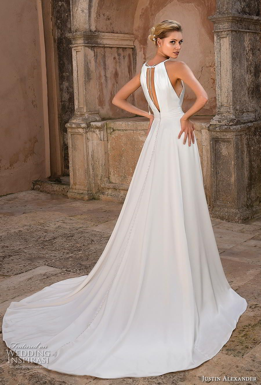 Justin Alexander Spring 2019 Wedding Dresses #grecianweddingdresses justin alexander spring 2019 bridal halter neck keyhole neckline simple elegant grecian modified a  line wedding dress keyhole back chapel train (15) bv -- Justin Alexander Spring 2019 Wedding Dresses | Wedding Inspirasi #wedding #weddings #bridal #weddingdress #weddingdresses #bride #fashion  ~ #grecianweddingdresses Justin Alexander Spring 2019 Wedding Dresses #grecianweddingdresses justin alexander spring 2019 bridal halter n #grecianweddingdresses