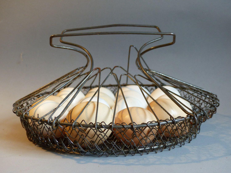 French Vintage Wire Basket. Heat tinned Wire Basket. Wire Egg Basket ...