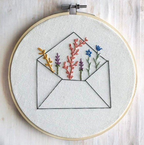 Envelope Wildflower Embroidery Hoop Wall Art, Long Distance Gift, Embroidery Hoop Art, Minimalist Decor, Dorm Decor, Modern Embroidery