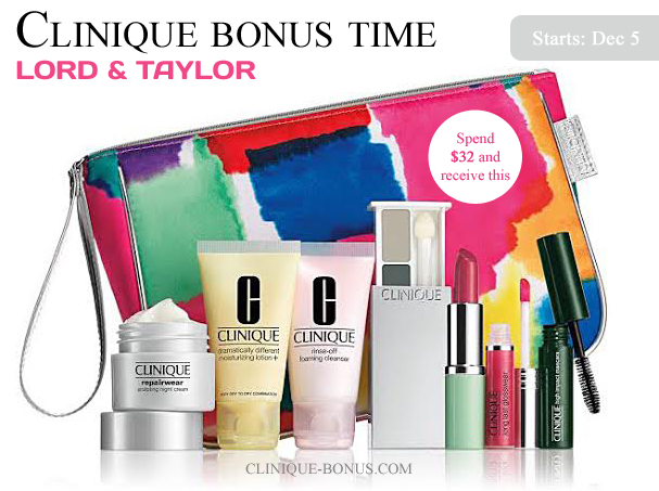 Presale available: Spend $32 to get this Clinique gift with purchase at Lord & Taylor. +Mention my website (clinique-bonus.com) and receive 2 extra samples.