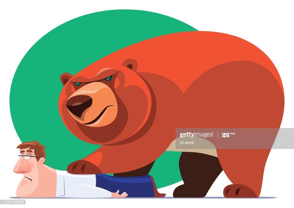 Bear Catching Businessman Illustration #Ad, , #Sponsored, #Catching, #Bear, #Illustration, #Businessman