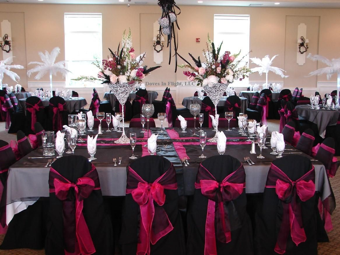 Pink Black And White Wedding Ideas For Blackhot Pink And Bling