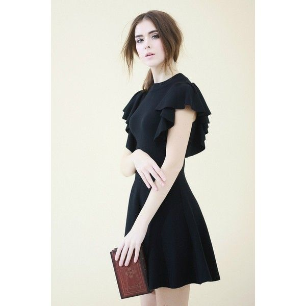 ed9aea07c6 Knit Skater Dress with Flounce Sleeves ❤ liked on Polyvore featuring dresses