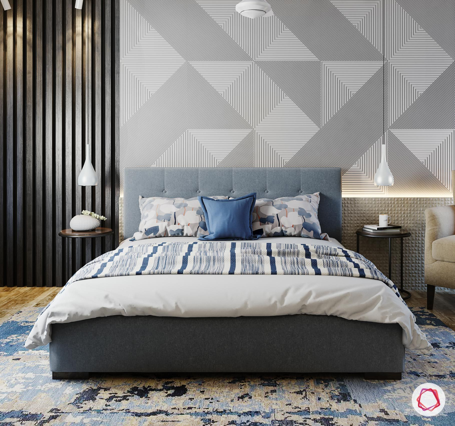 A Contemporary Bedroom With New Age Patterns And A Muted Grey And Blue Color Scheme Be Modern Wallpaper Bedroom Bedroom Wall Designs Grey Wallpaper Bedroom