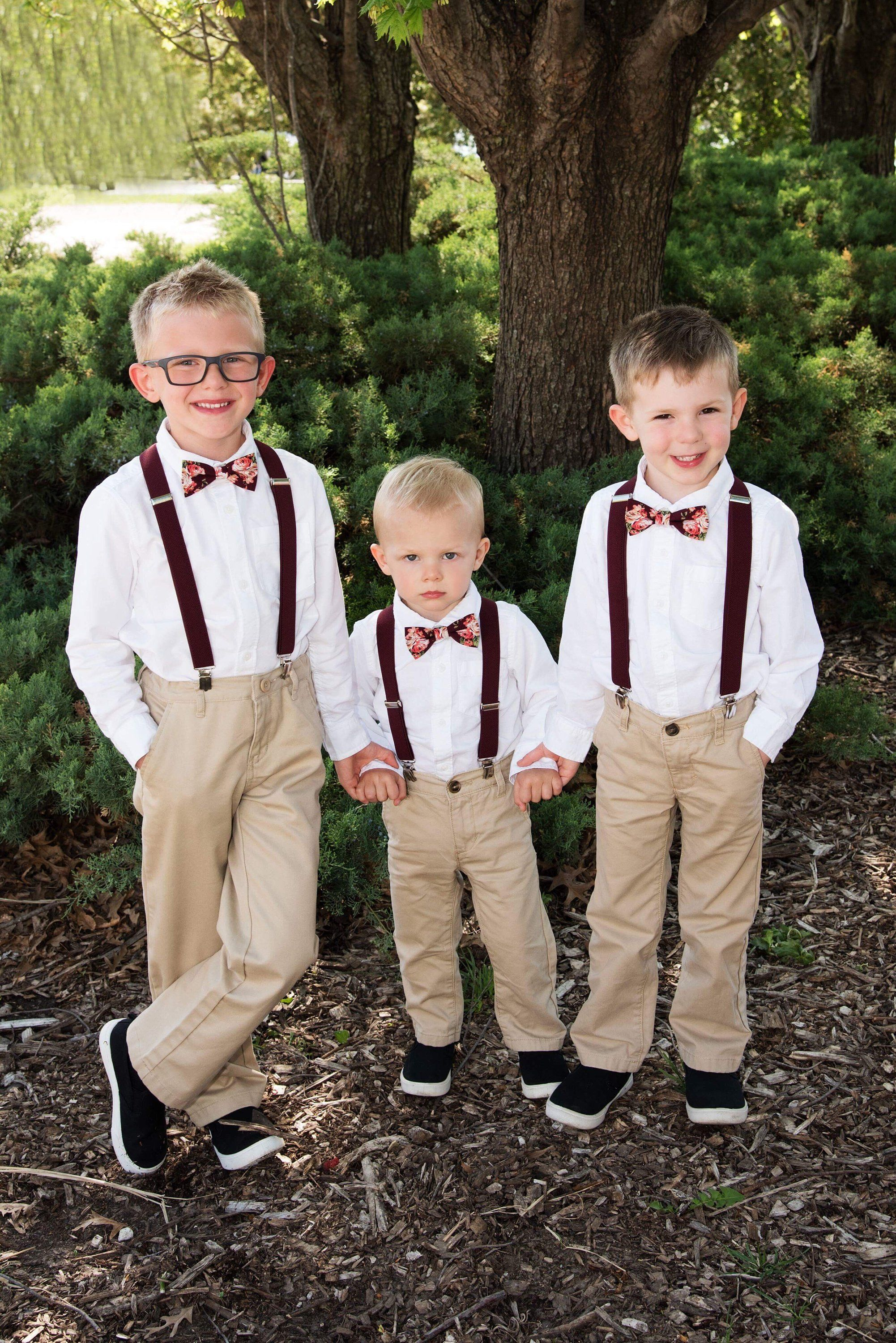 Ring Bearers Bow Ties And Suspenders For Burgundy Wedding Etsy In 2020 Wedding Outfits For Groom Wedding Outfit For Boys Fall Groomsmen Attire