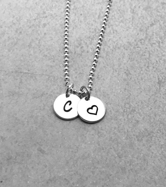 Initial Necklace With Heart Sterling Silver Letter C Etsy Hand Stamped Jewelry Initial Necklace Silver Initial Charms