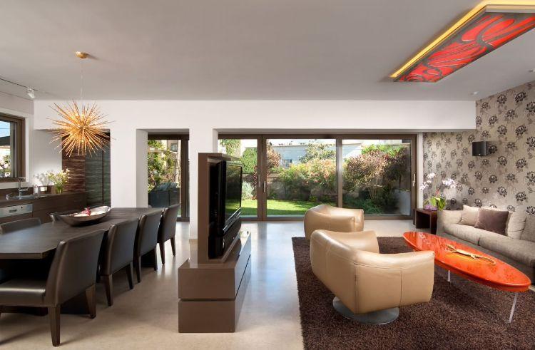 Fernseher Mitten Im Raum Wohnzimmer Verstecken Tv Wand Ideen  Einrichtungstipps Trennwand Raumteiler Raumtrenner Esstisch #livingroom