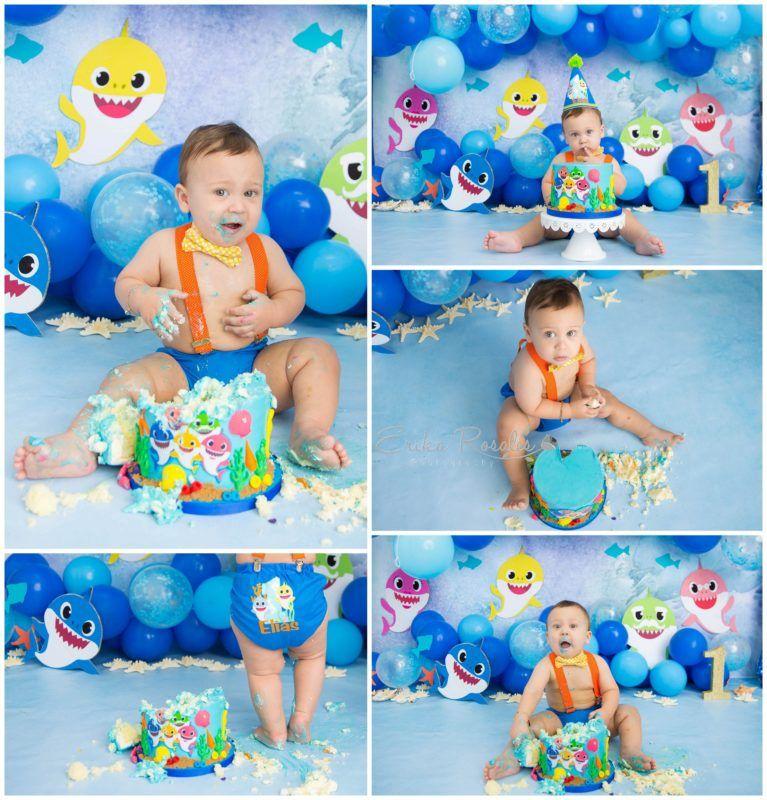 Baby Shark Cake Smash Baby Photographer The Bronx Studio