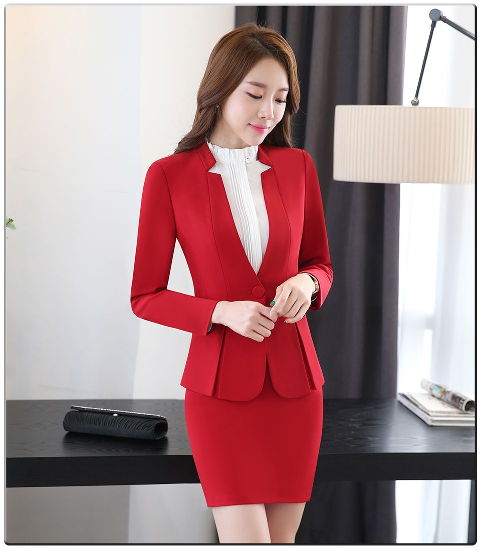Spring Autumn Two Pieces Suits Ladies Formal Skirt Suit Office