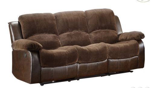 Homelegance Cranley Collection Brown Microfiber And Bonded Leather Reclining Sofa 9700fcp 3 Reclining Sofa Sofa Leather Reclining Sofa