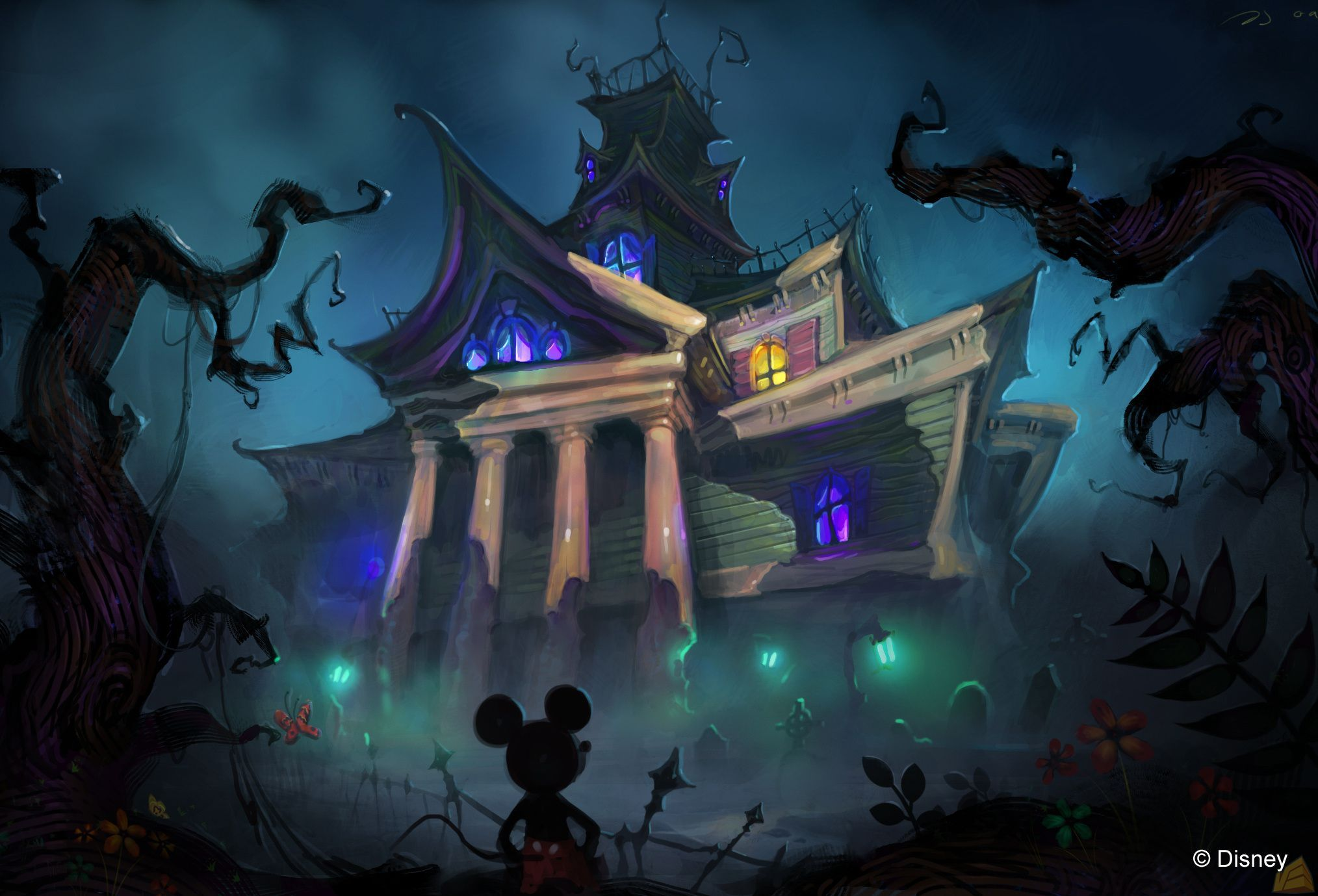 A Beautifully Deranged Haunted Mansion Pick Featuring Mickey Mouse Epic Mickey Disney Art Disney Epic Mickey