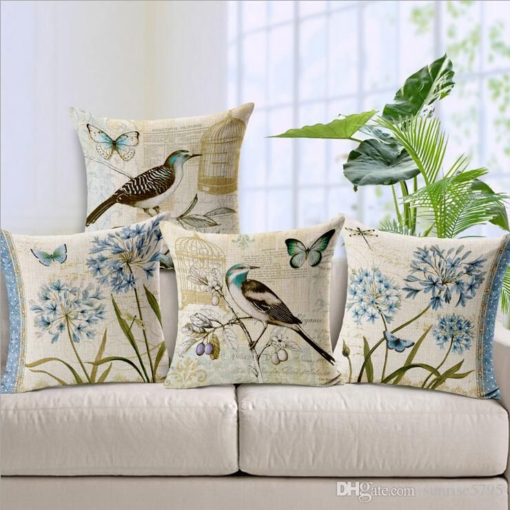 Vintage bird and birdcage cushion cover retro butterfly - Fundas cojines sofa ...