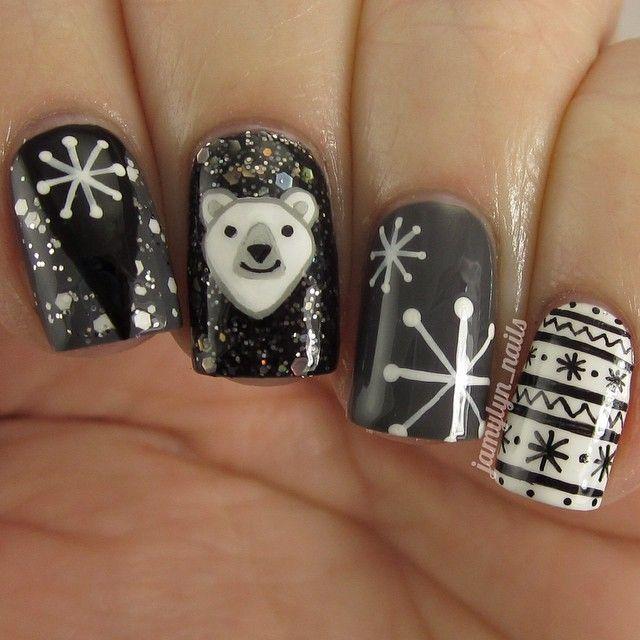 PolarBearNails: kik polar bear smileys!   Nail Art - Winter and ...