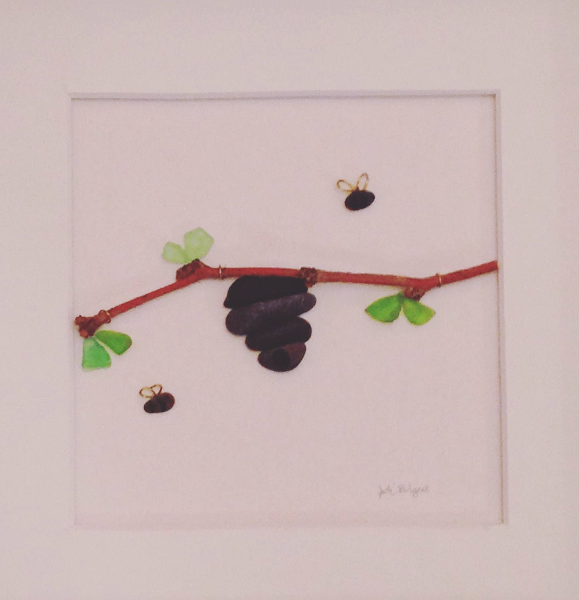 8 x 8 Framed Pebble Art Picture, Original Art for Sale, Bee Hive ...