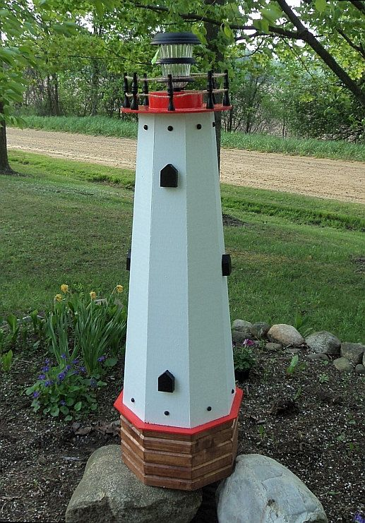 48 Solar Lighthouse Wooden Well Pump Cover Decorative Garden Ornament Red Accents