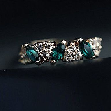 Ring Daily Jewelry Alloy Rhinestone Women Statement Rings 1pc,8 Green 841750 2017 – $1.81
