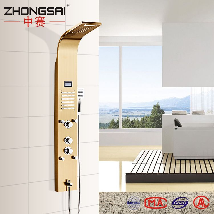 304 Stainless steel Gold Thermostatic Shower Panel with LCD display ...