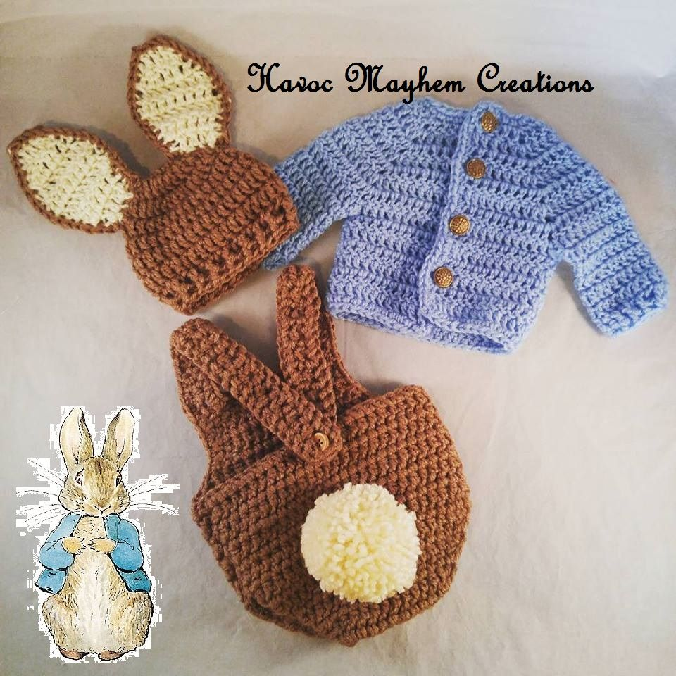5942a9cc2a626 Baby Peter Rabbit Outfit. Great for a gift or photo props.