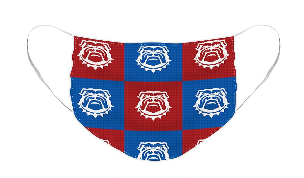 Red White and Blue Nine Bulldogs Care Face Mask for Sale