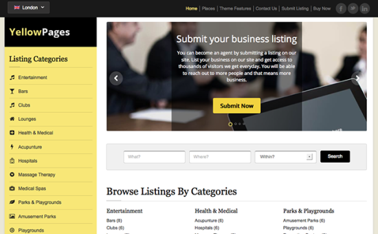 Download Free Yellow Pages Wordpress Theme | Theme Wordpress | Pinterest