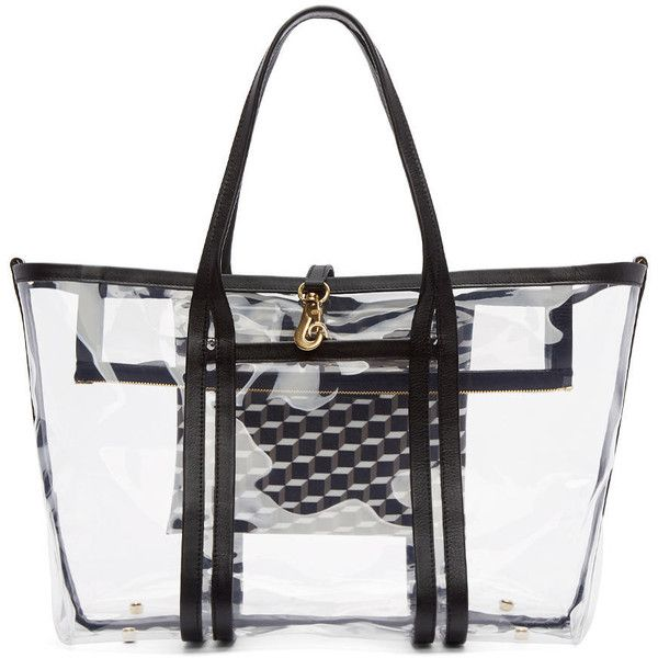 Pierre Hardy Clear Vinyl Polycube Tote 4 040 Cny Liked On Polyvore Featuring Bags Handbags Multi Black Structured Bag