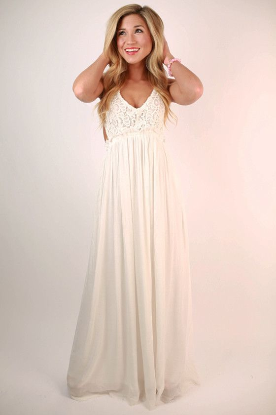 White Baby Shower Maxi Dresses