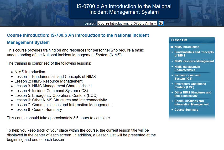 FEMA ICS 700 Answers ( B) National Incident Management (NIMS