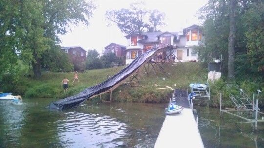 Homemade Water Slide Cottage Lake Water Slides Swimming Pond