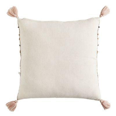 Blush & Gray Pillow with Tassels | Pier 1 | Grey pillows ...