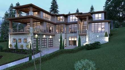 Modern Style House Plan with 5 Bed 6 Bath 3 Car Garage
