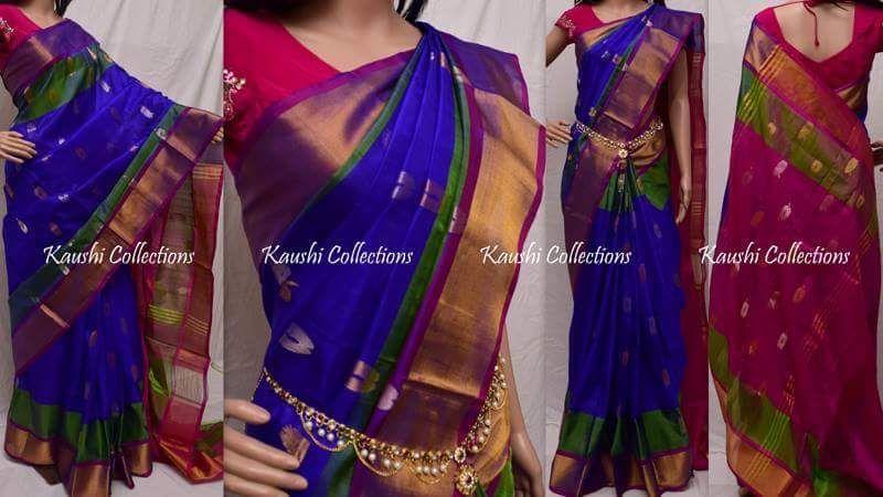 75905cfc376262 Royal blue with dark pink Uppada silk sarees with butti   Uppada ...