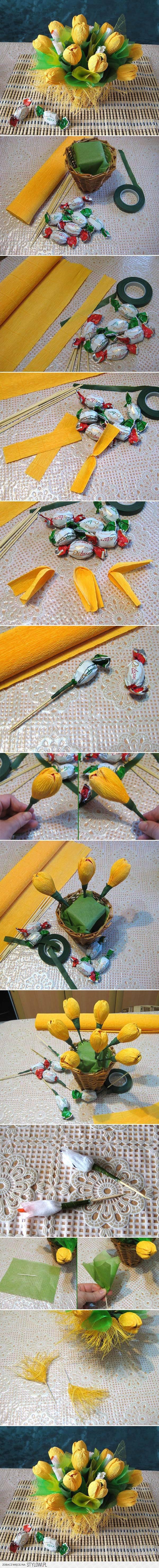 Diy yellow flower candy bouquet diy projects usefuldiu na stylowi