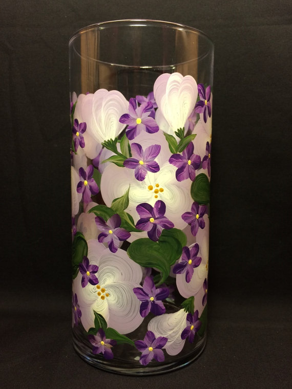 Hand Painted Cylinder Vase  Raining Violets on by EverMyHart