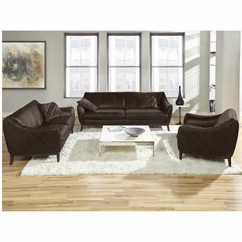 Trieste Brown 3 Piece Top Grain Leather Living Room Set Living Room Sets Leather Living Room Set Home Decor