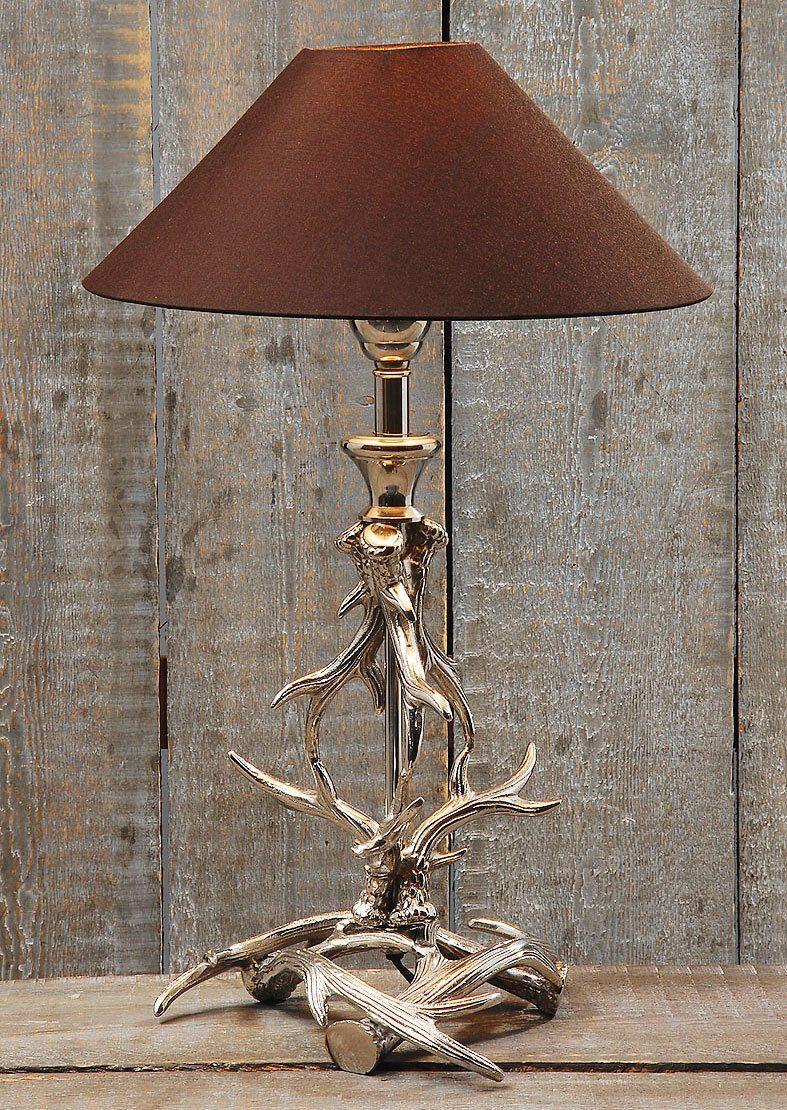 geniale tischlampe geweih aus metall mit braunem schirm 56cm h he k che haushalt. Black Bedroom Furniture Sets. Home Design Ideas
