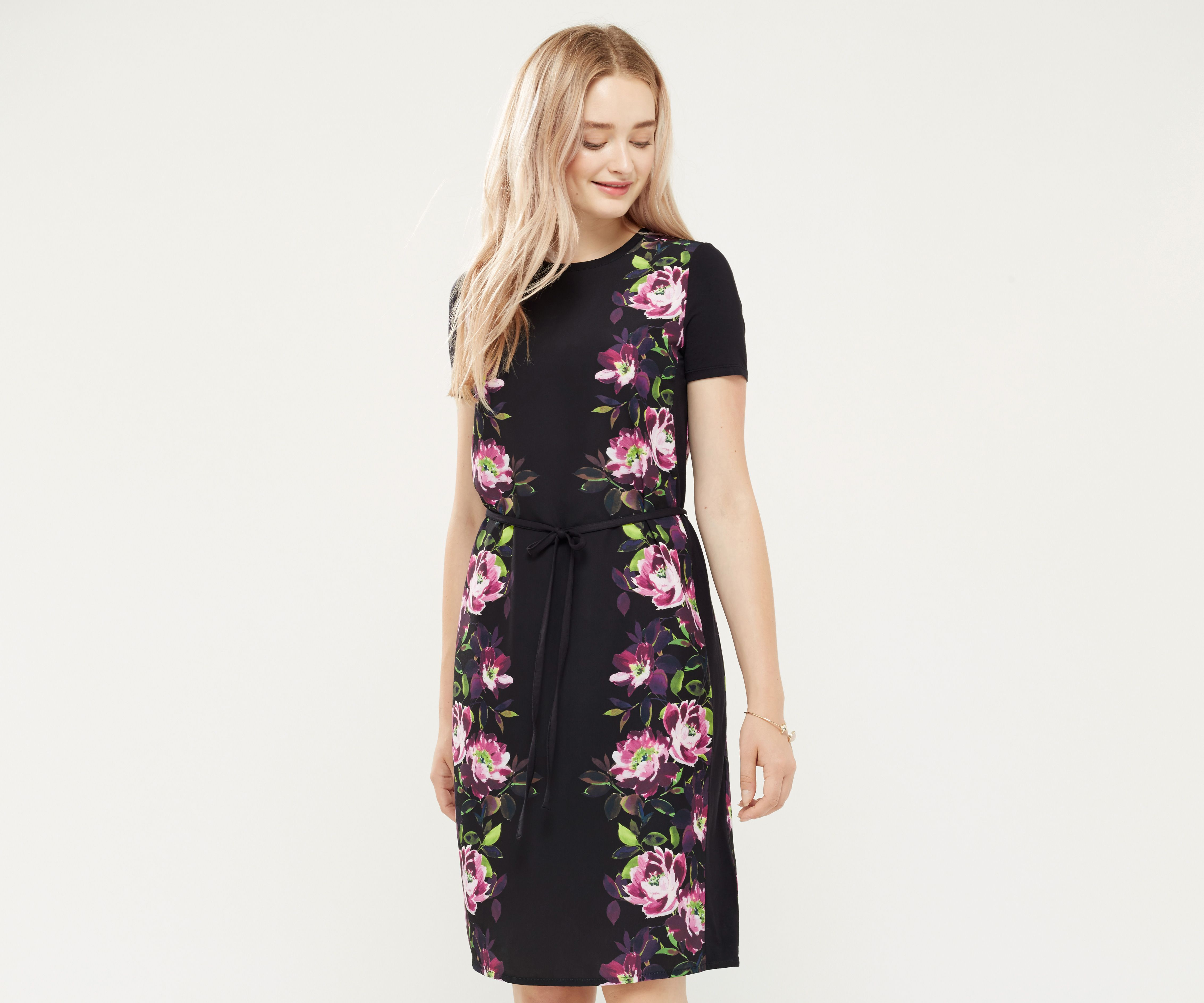 Oasis, PAINTED ROSE JERSEY DRESS Black 1