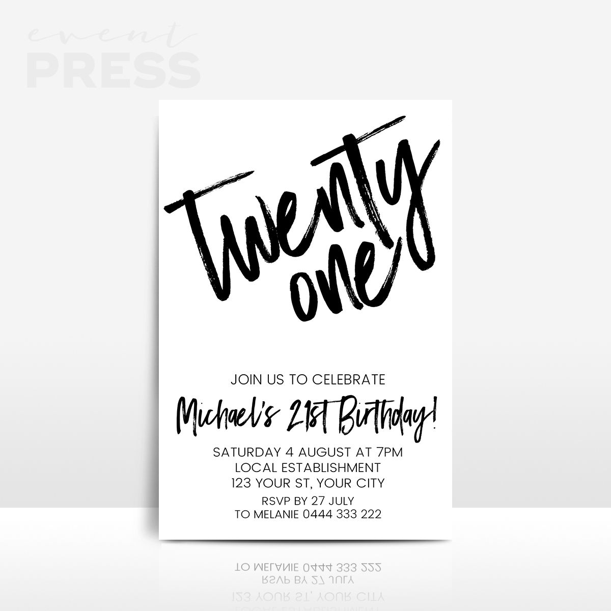 21st birthday invitation in black and white | Invitations ...