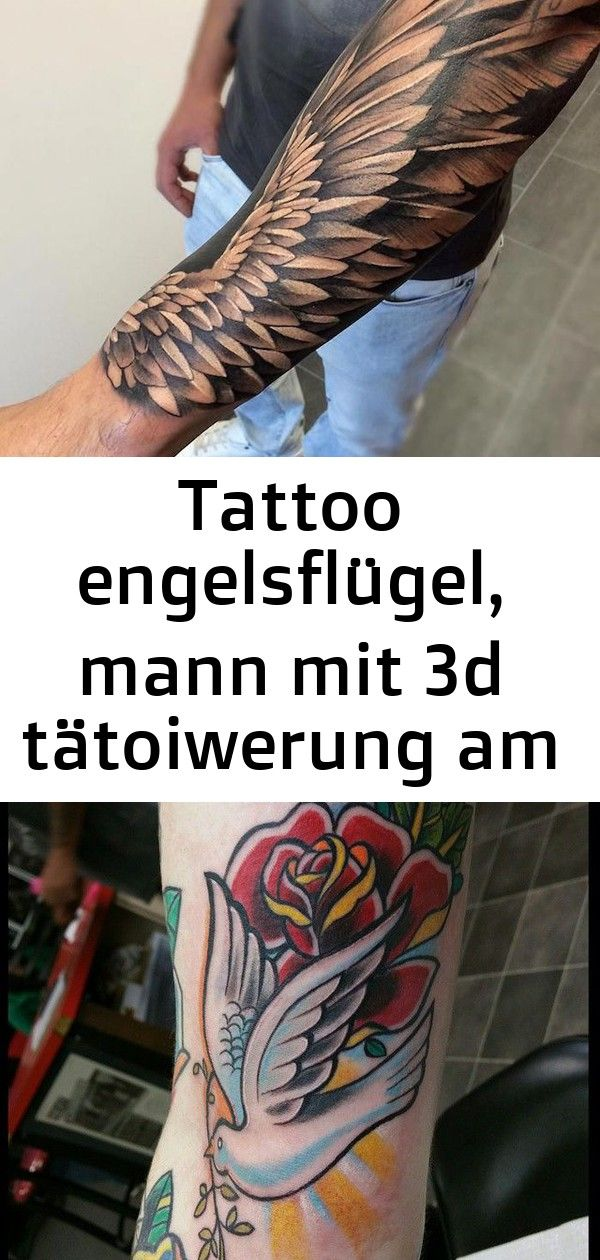 Tattoo engelsflügel, mann mit 3d tätoiwerung am unterarm