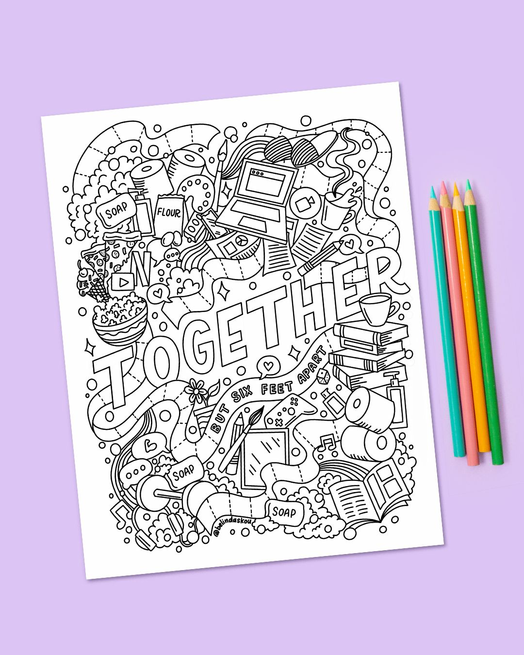 Free Coloring Page For Social Distancing Just For You