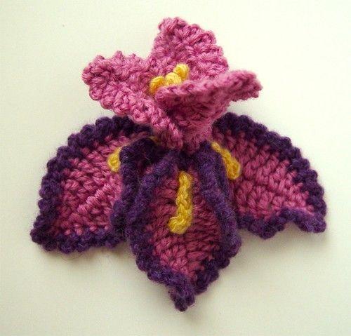 crochet iris flower pattern pdf repinned flowers pinterest Iris Flower Template Printable crochet iris flower pattern pdf repinned
