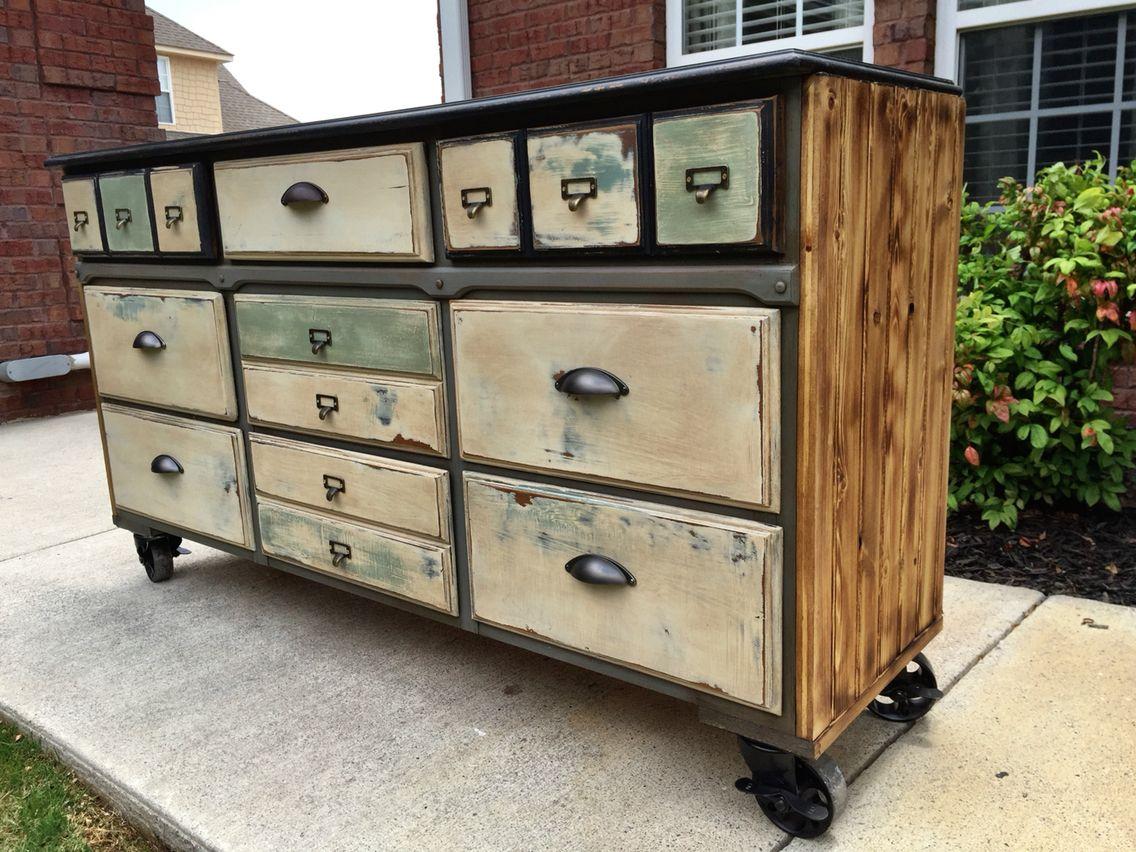 Industrial Dresser on vintage casters   Furniture Design   Pinterest